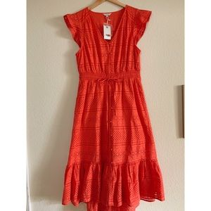 Lucky Brand Red Eyelet Lace Midi Dress